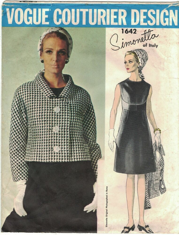 Vogue 1642 Simonetta Of Italy 1960s Dress Jacket Pattern Bust 36