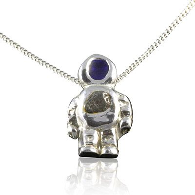 Silver meteorite spaceman necklace handmade solid silver spaceman silver meteorite spaceman necklace handmade solid silver spaceman measuring 15cm top to bottom aloadofball Image collections