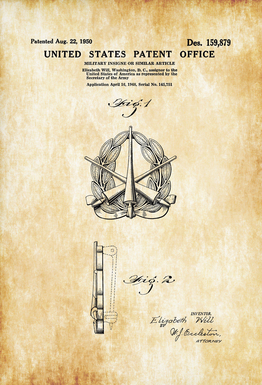 Army Insigne Patent – Patent Print, Wall Decor, Military Decor ...