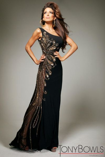Tony Bowls Evenings Tbe11355 Black Jersey Evening Dress In 2018