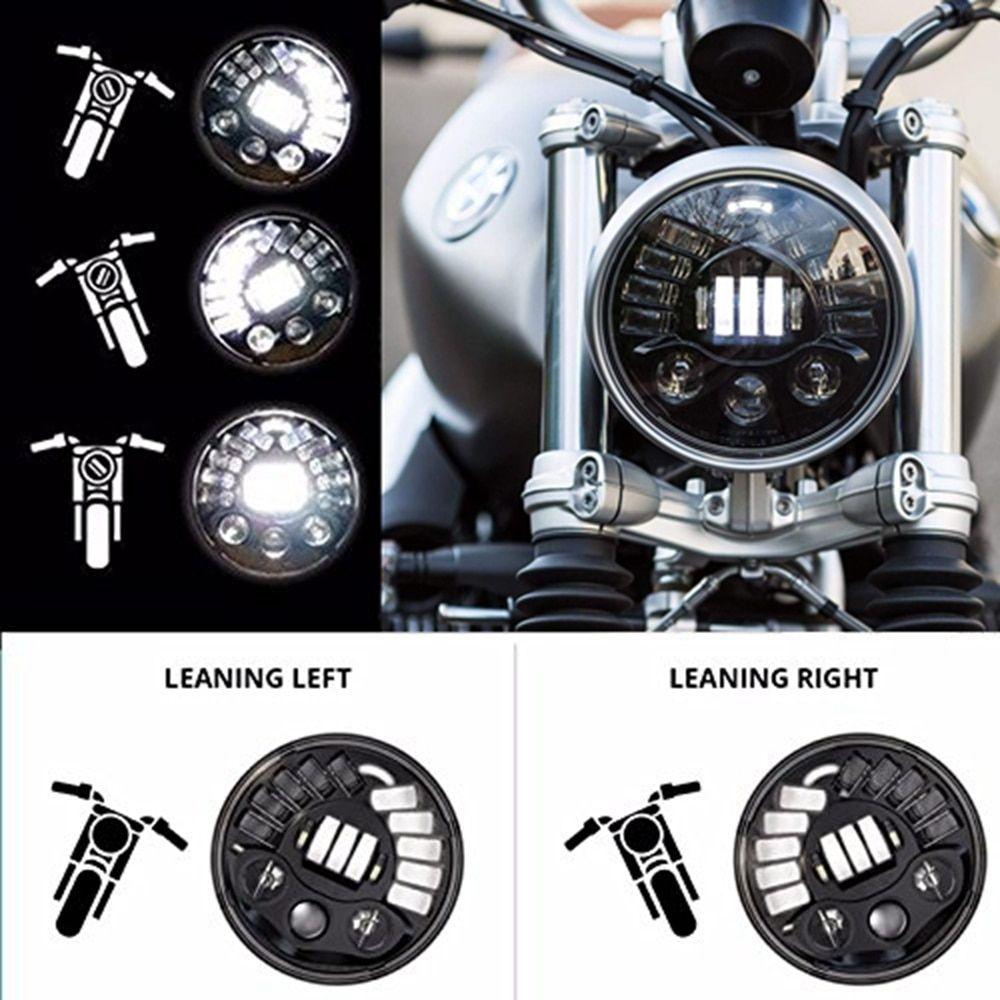 Black/Chrome 7Inch LED Adaptive Motorcycle Headlight with Hi