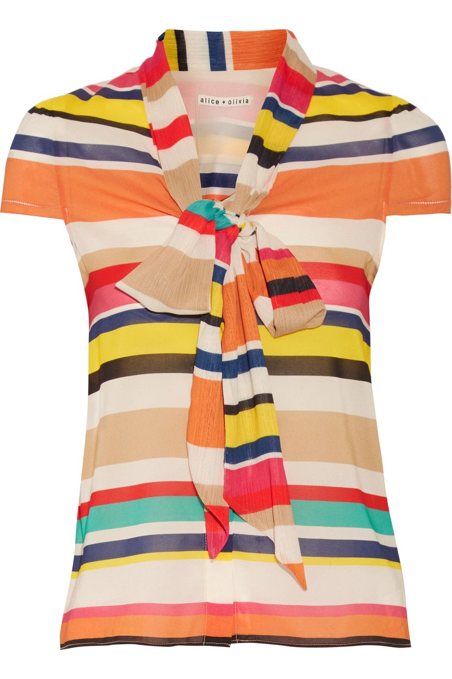 ALICE AND OLIVIA Betsey Pussy-Bow Striped Silk-Blend Top. #aliceandolivia #