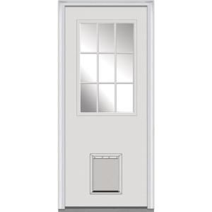 Mmi Door 32 In X 80 In Internal Blinds Right Hand 1 2 Lite Clear Primed Fiberglass Smooth Prehung Front Door With Pet Door Efsf684blfs28r The Home Depot Mmi Door Front Entry Doors Fiberglass