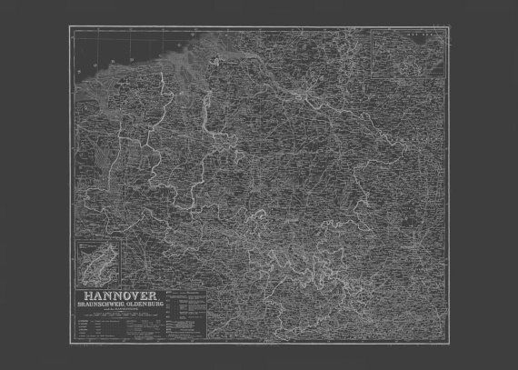 BLUEPRINT HANNOVER MAP Old Map of Hannover by EncorePrintSociety - new old blueprint art