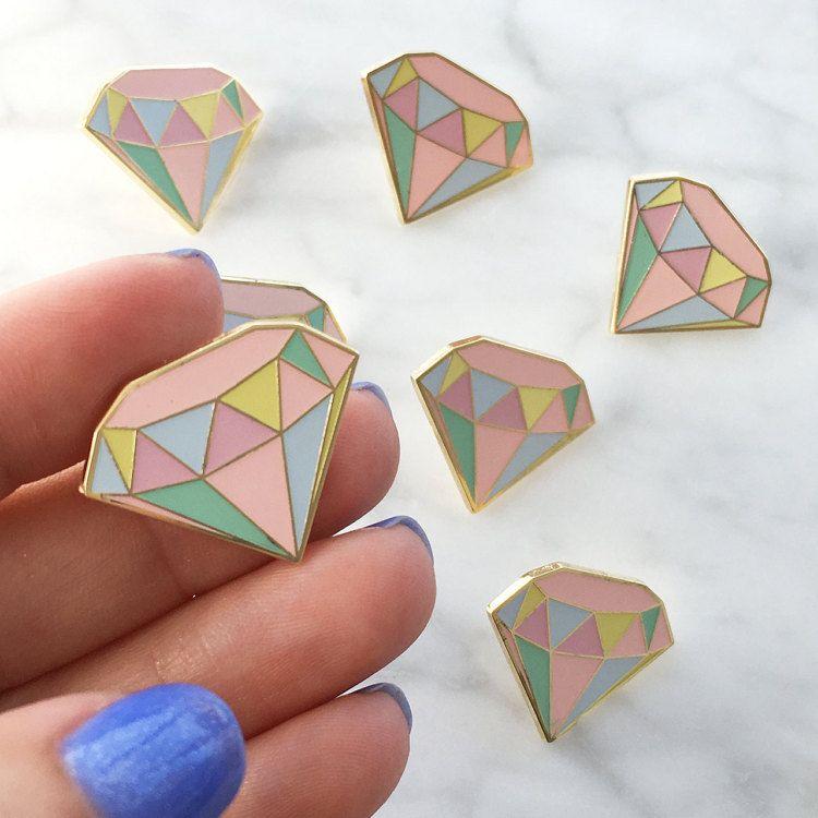 Diamond enamel pin flair lapel hard enamel pastel