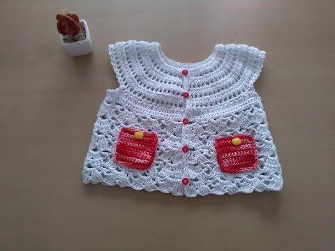 897577a09 DIY Como tejer chaleco bolero para bebe niña con flor a crochet, ganchillo  (1/2) - YouTube