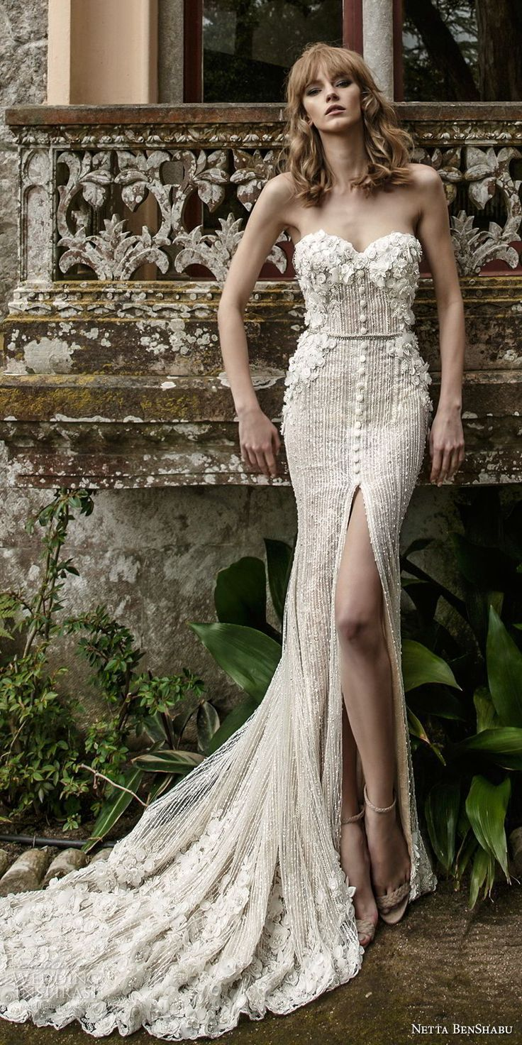 netta benshabu 2017 bridal strapless sweetheart neckline heavily embellished bodice high slit skirt elegant sheath wedding dress chapel train (3) mv -- Netta BenShabu 2017 Wedding Dresses