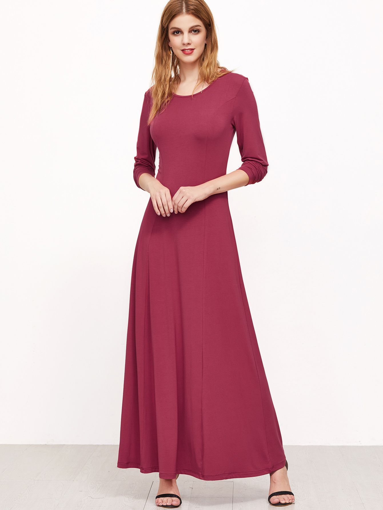 fdbaf23f6f Shop Hot Pink Long Sleeve A Line Maxi Dress online. SheIn offers Hot Pink  Long Sleeve A Line Maxi Dress & more to fit your fashionable needs.