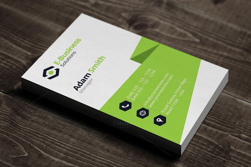 Vertical Business Card Template By Arslan On Creative Market - Vertical business card template
