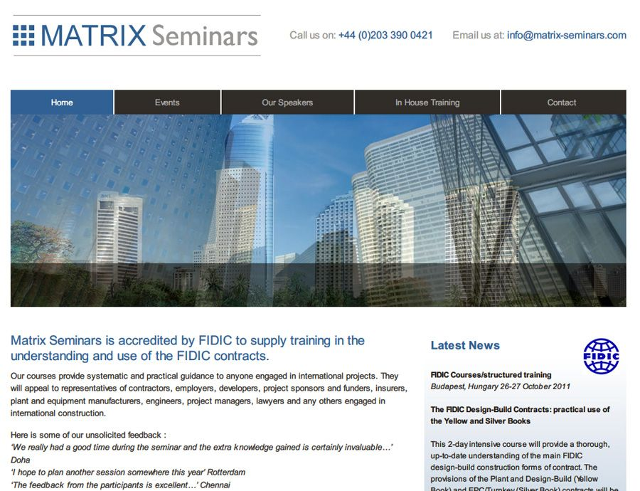 Matrix Seminars adalah salah satu portfolio web design kami - firm profile format