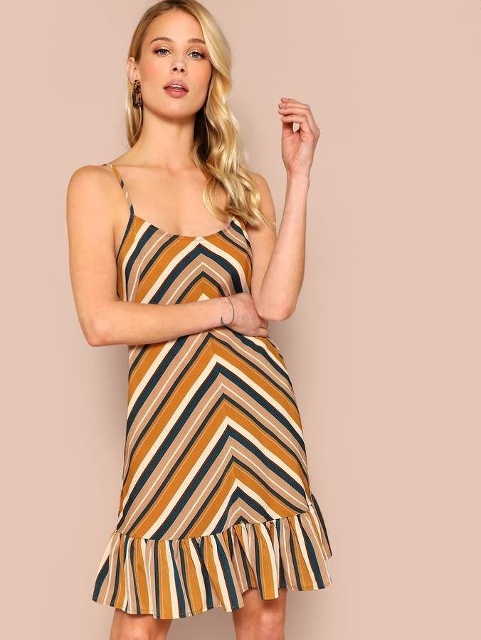 d1627b8fec25 Shein Ruffle Hem Chevron Cami Dress in 2019