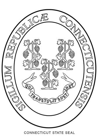 Connecticut State Seal Coloring Page Coloring Pages Free Printable Coloring Pages Printable Coloring Pages