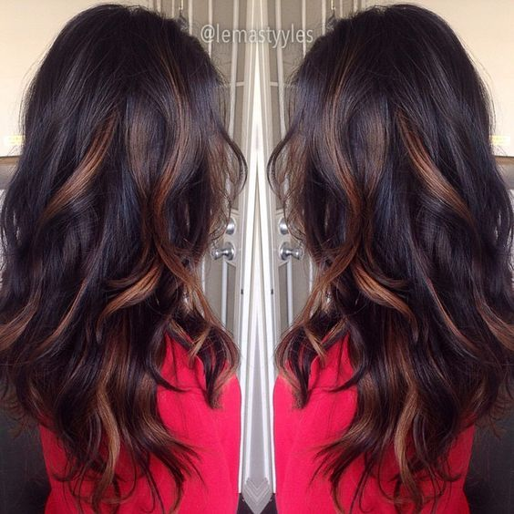 Caramel Highlights On Dark Hair Hairstyles Pinterest Haar