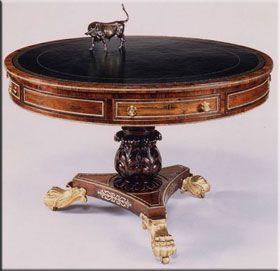 Circular Table On Plinth With Lion Paw Feet  A Typical Furniture Form Found  During