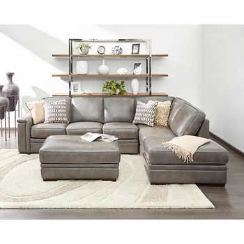 Alandro Grey Top Grain Leather Sectional With Pull Out Bed And Storage Ottoman Grey Leather Sofa Living Room Living Room Leather Leather Sectional Living Room