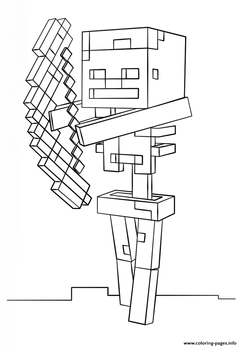 824x1186 Minecraft Skeleton With Bow Coloring Pages Printable Minecraft Coloring Pages Minecraft Skeleton Coloring Pages