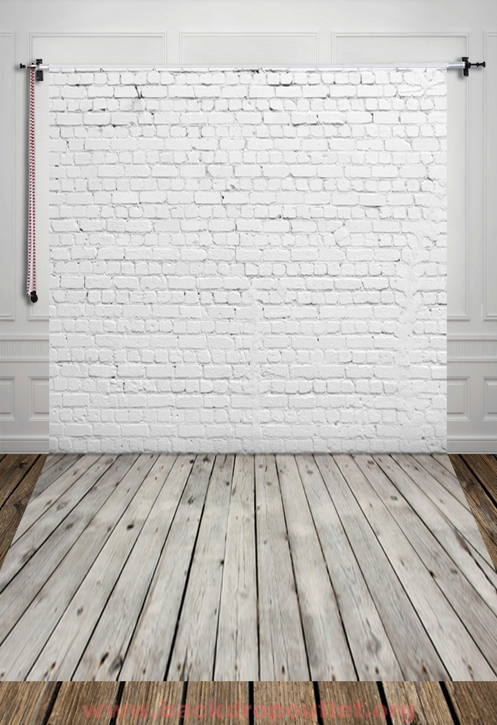 Photography Digital Printed Backdrop White Brick Wall With Gray Wooden Floor Background For Photo Studio Shoot Props Molduras