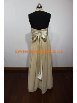 Champagne Chiffon Halter Floor Length Bow Sash Formal Dress for Bride or Bridesmaids 2013