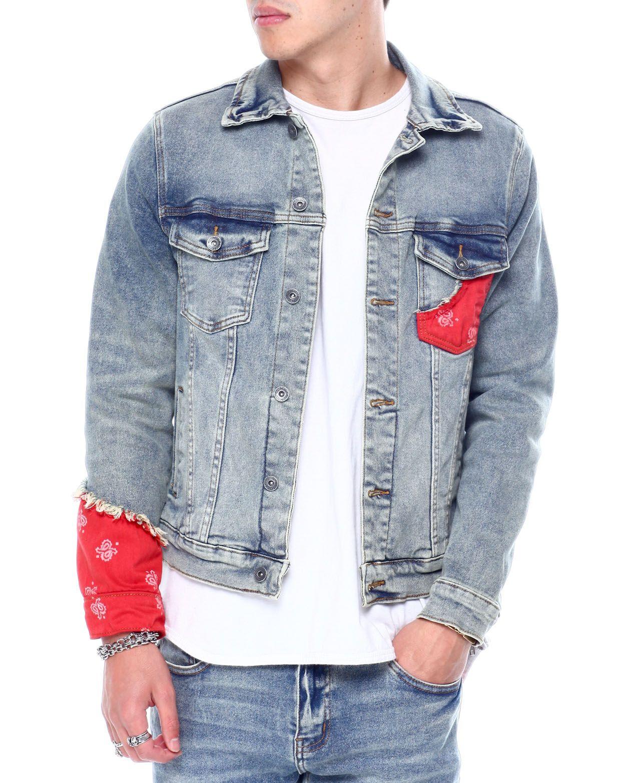 Red Bandana Denim Jacket Denim Jacket Skirt And Sneakers Denim Jacket Men [ 1564 x 1251 Pixel ]