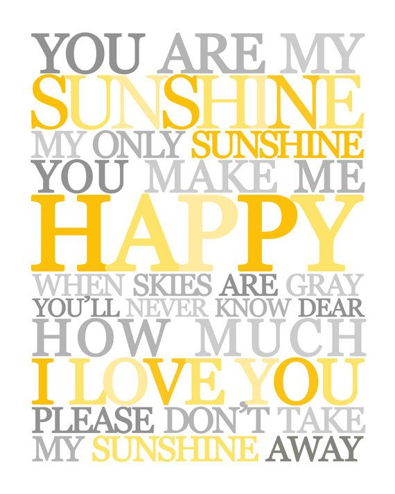 You Are My Sunshine Wall Art. Childrens by LittleLifeDesigns | My ...