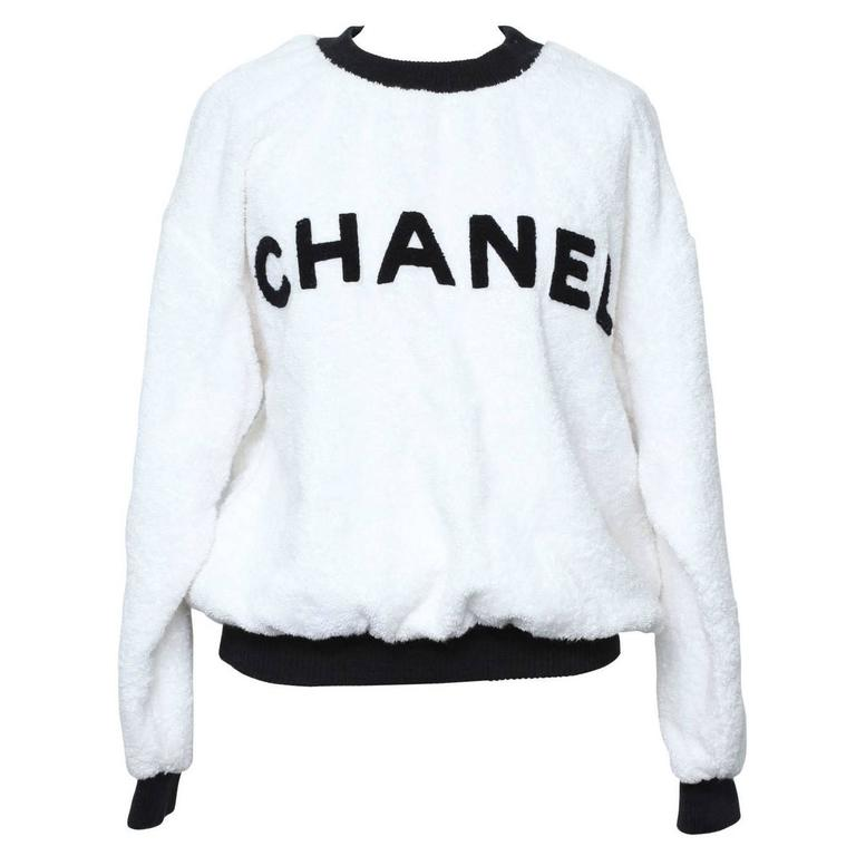 Chanel Black/White Logo Pullover Terry Sweater Black and