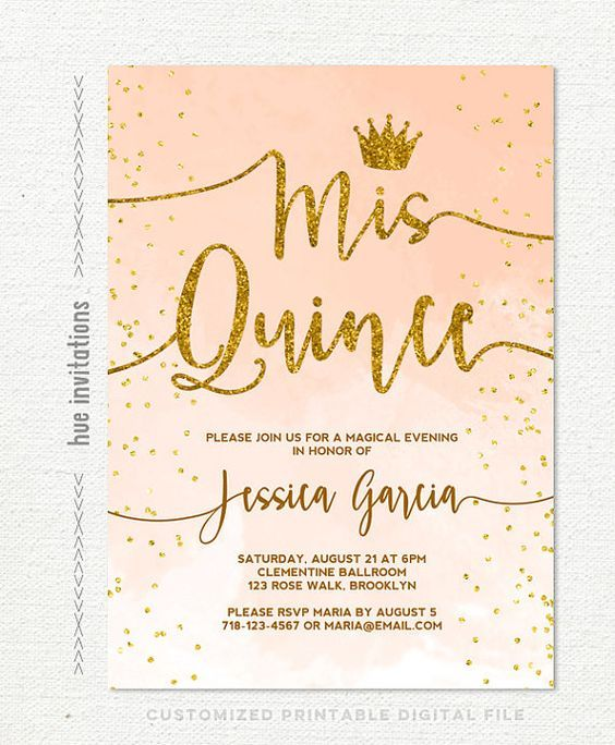 Quinceanera Invitation Coral Peach Watercolor Gold Glitter Crown