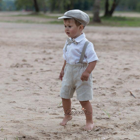 ring bearer newsboy outfit baby boy natural linen suit. Black Bedroom Furniture Sets. Home Design Ideas