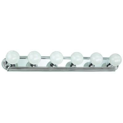Hampton Bay 6-Light Chrome Flushmount Raceway Vanity Light | Chrome ...
