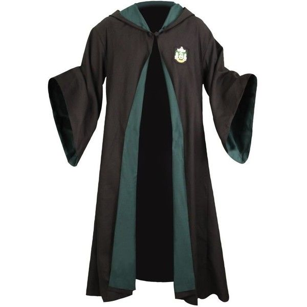 Harry Potter School Robe (Slytherin Free Size) ($125) ❤ liked on Polyvore featuring harry potter, hogwarts, jackets, slytherin and outerwear