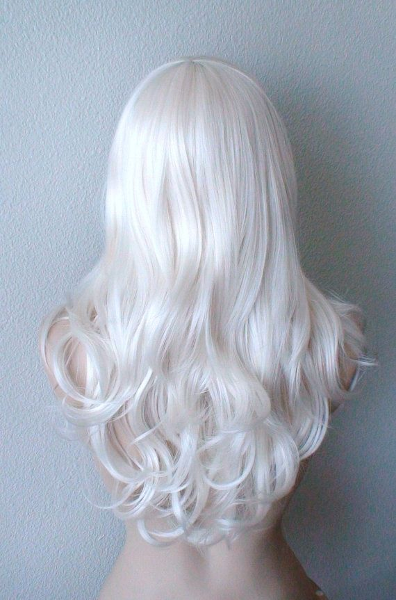 14/'/' Straight Shoulder Length w// Short Bangs Snow White Wig NEW