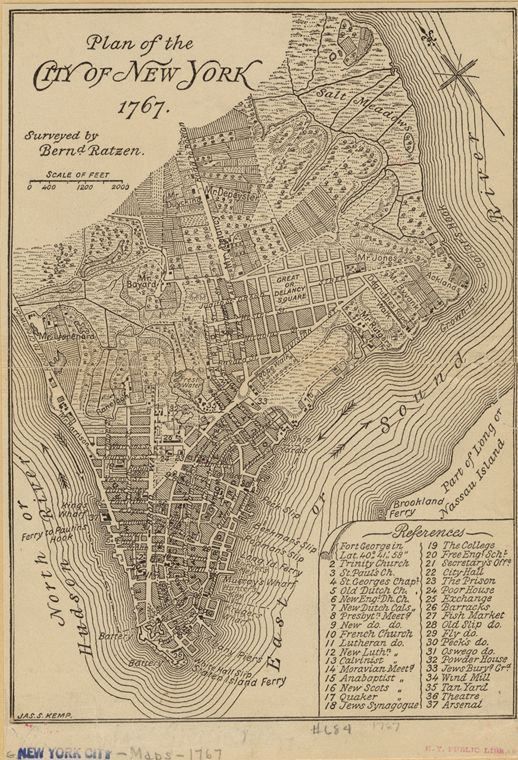 A Walking Tour Of 1767 New York Plakater Og Kort