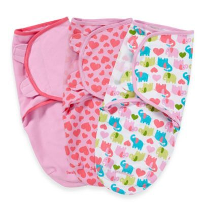 SwaddleMe® 3-Pack Small/Medium Adjustable Infant Wraps by Summer Infant in Elephants - buybuyBaby.com