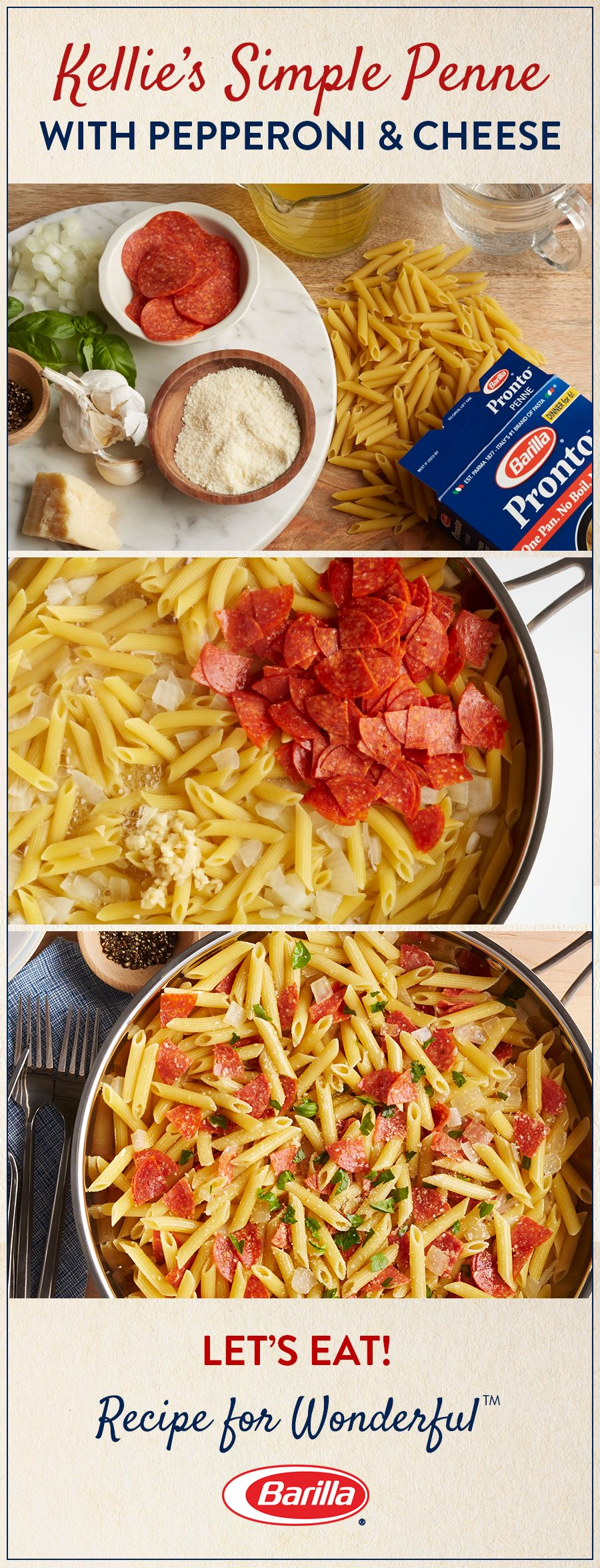 Takeout isn't your only option for a speedy dinner. All of your family's favorite pizza flavors – pepperoni, basil, and cheese – combined with deliciously al dente Barilla penne pasta – and no need to wait for delivery. Try this easy recipe for Kellie's S