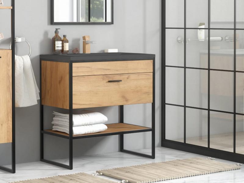 Photo of Modern Industrial Loft Vanity Bathroom 600 Cabinet Sink Unit 60cm Free Standing Oak Black Metal Frame – Brooklyn (BROOKLYN_820+E-8003-60_LAVA-BLACK)