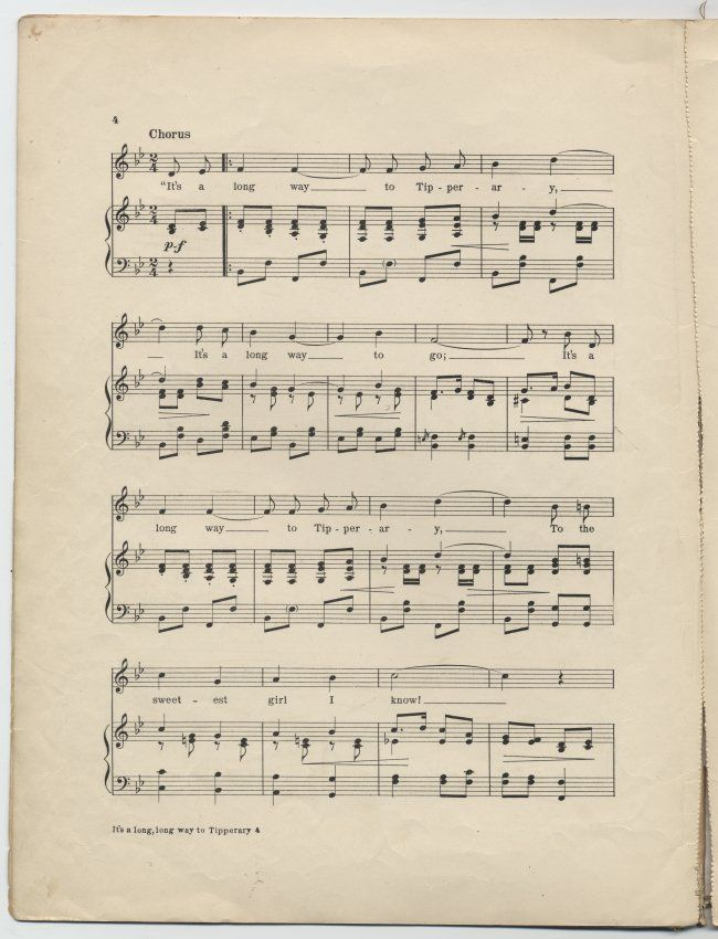 It S A Long Long Way To Tipperary With Images Sheet Music