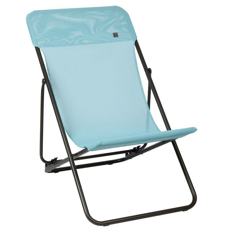 Outdoor Lafuma Maxi Transat Batyline Folding Sling Chair Set Of 2 Bleu Arctic Fabric Brown Frame Lfm2502 6453 Transat Transat Jardin Fauteuil Relax