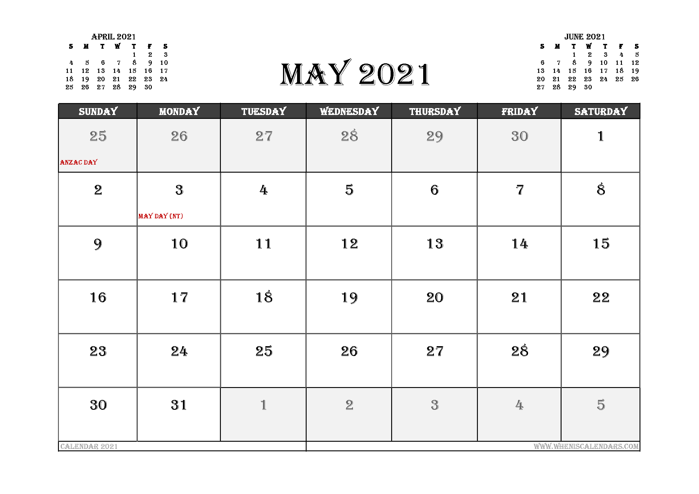 May 2021 Calendar Australia Printable In 2020 Calendar Uk 2021 Calendar Calendar Printables
