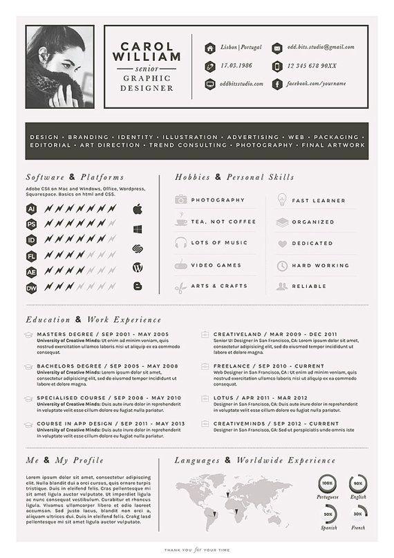 resume cv design cover letter business card par