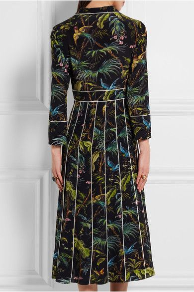 e1f0eb71a003e1 Gucci - Embellished Printed Silk Crepe De Chine Midi Dress - Black - IT