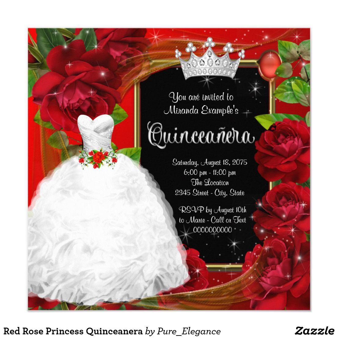 Red Rose Princess Quinceanera Invitation | { Happy Birthday ...