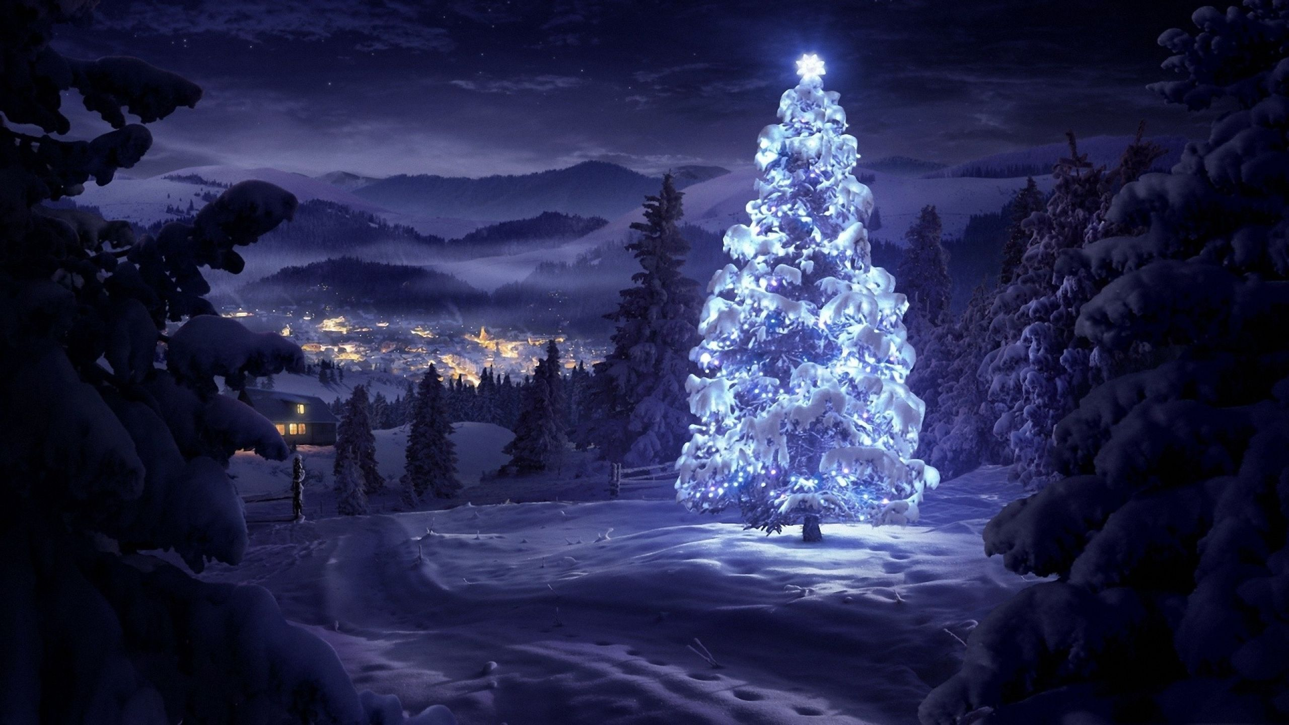 Christmas Tree In The Snow Wallpaper Weihnachtsbaum