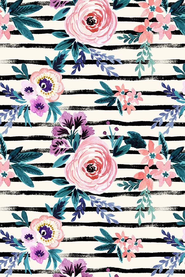 Victoria Floral Stripe By Crystal Walen Hand Painted