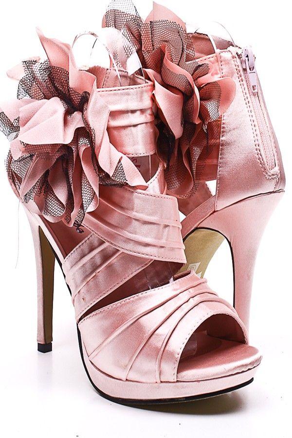 1603c625deed6 PINK SATIN PLEATED STRAPPY FLOWER ACCENT HEELS,Sexy Heels,High heel shoes,Women's  sexy heel shoes,Stiletto Heel,new spring heels,fashionable black heels ...