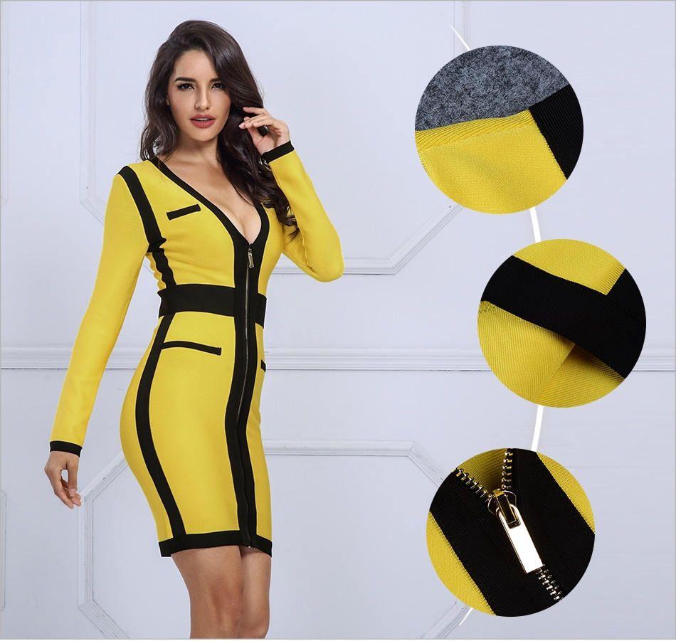 Yellow   Black Bodycon Dress 360416d446c6