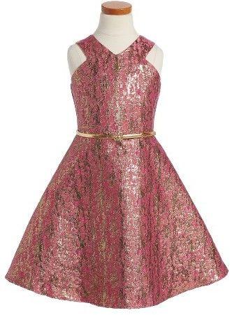 91f9da07ac3c0 Birls Blush By US Angels Jacquard Fit & Flare Dress $74 At Nordstrom  Pink metallic