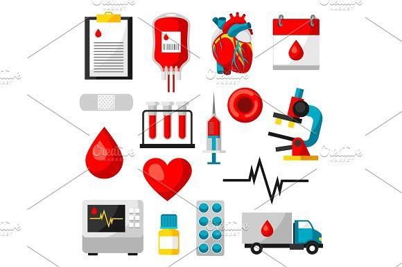 Set of blood donation items Medical and health care objects
