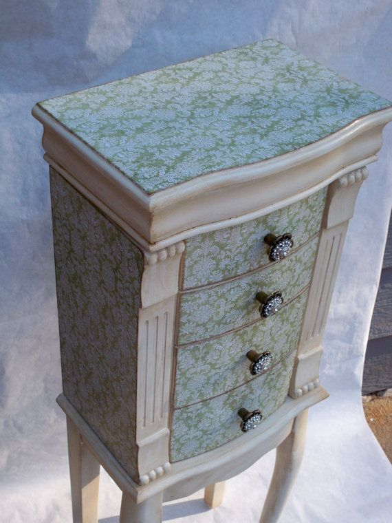 Sage and Cream Repurposed Jewelry Armoire by funandfancydesigns