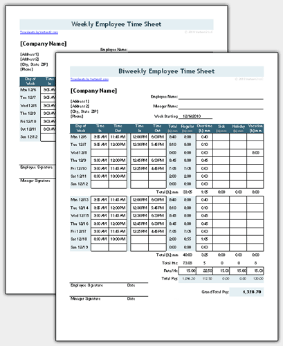 Download The Original Employee Timesheet With Breaks From Vertex