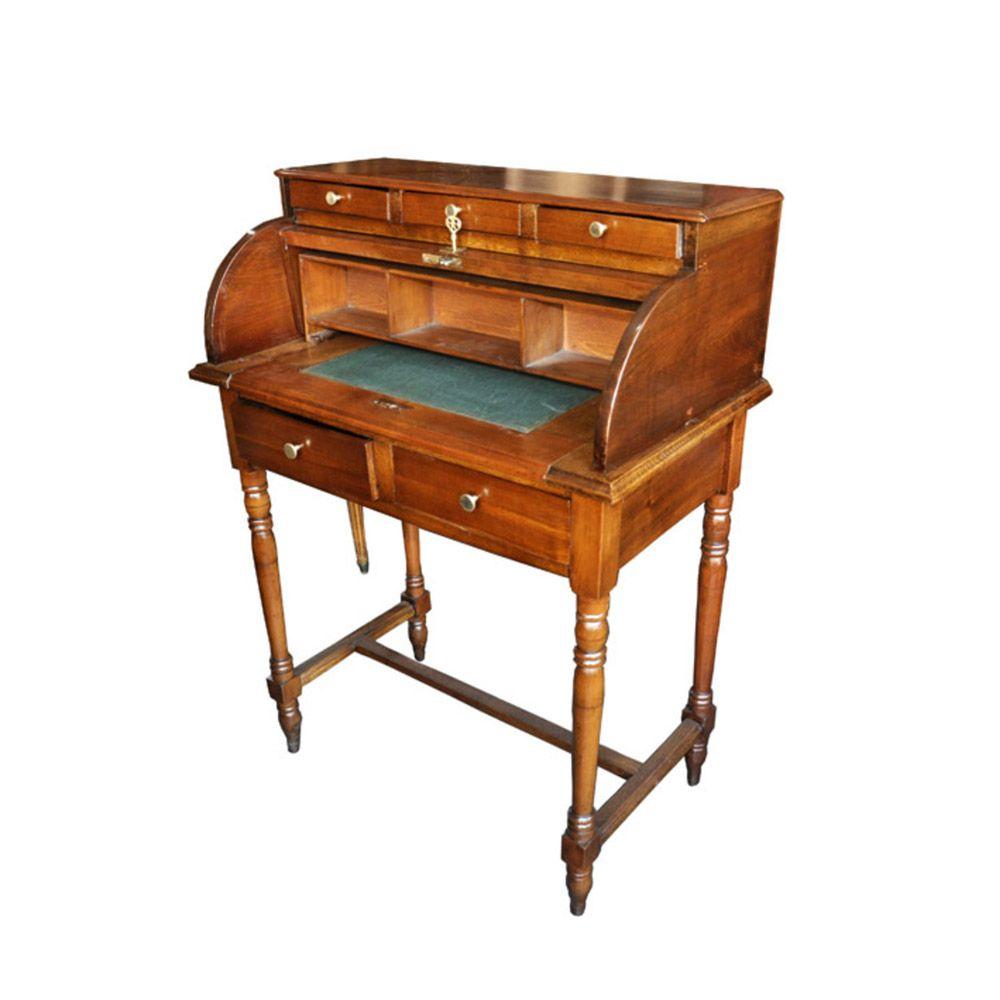 Escritorio antiguo en madera impecable la rueda for Muebles escritorios clasicos