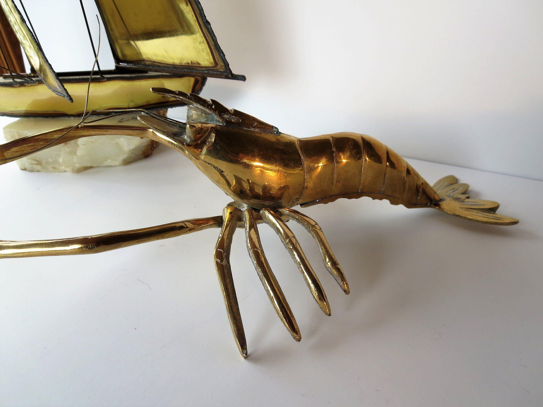 Vintage Brass Lobster Figurine Mid Century Lobster Decor Lobster Statue Brass Figurine Brass Animal Figurin Brass Figurines Lobster Decor Brass Animals